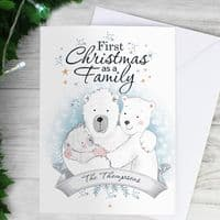 Polar Bear '1st Christmas As A Family' Card - ideal for baby's first Xmas . New Mum and Dad
